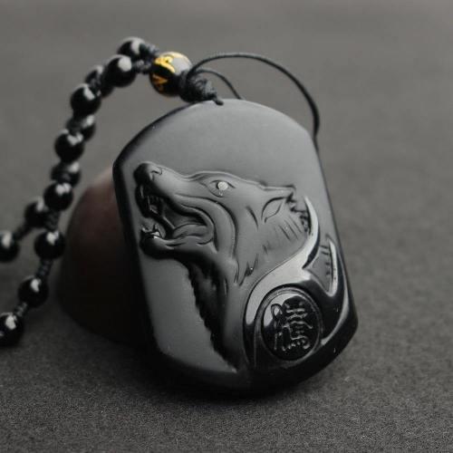 Black Obsidian Wolf Head Amulet Pendant Necklace