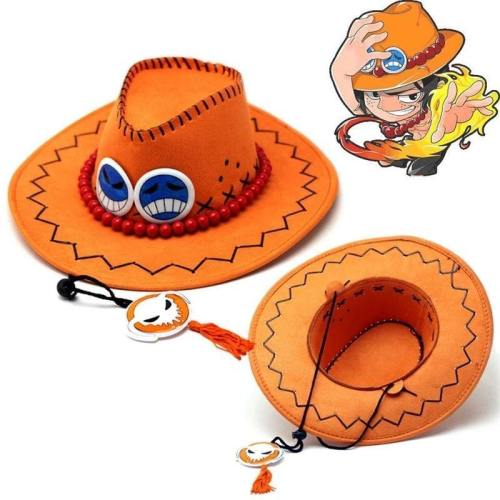 Cosplay D Ace Hat Anime One Piece Portgas Vulcan Ace Cowboy Hat For Adult Pirates Caps With Bones Skull Toys Souvenirs