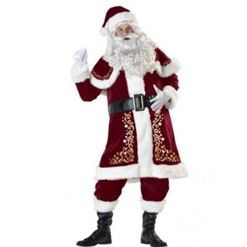 8Pcs Men Christmas Santa Claus Costume Cosplay Clothes Fancy Long Sleeve Christmas Suit For Adults Casa De Papel Disfraz #3F