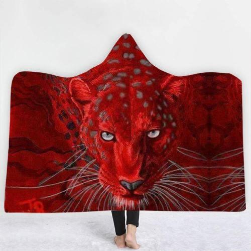 Brave Leopard In Red Hooded Blanket