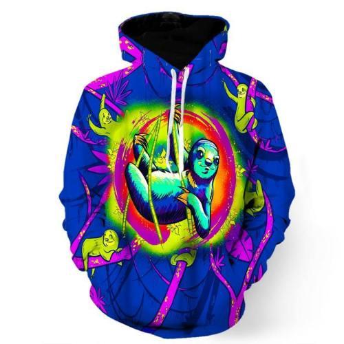 Colorful Psychedelic Sloth Sweatshirt/Hoodie