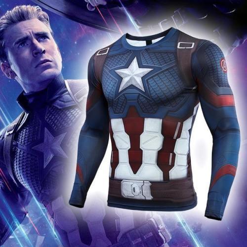 Avengers: Endgame Costume Tights Captain America T-Shirt Steve Rogers Top Costumes Cosplay Marvel Superhero Halloween Party Prop