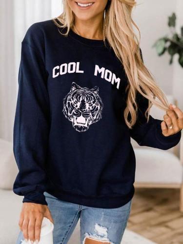 Tiger Print Cool Mom Sweatshirt