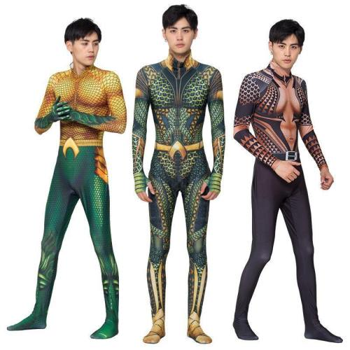Aquman Golden Jumpsuit Superhero Costume Halloween Cosplay