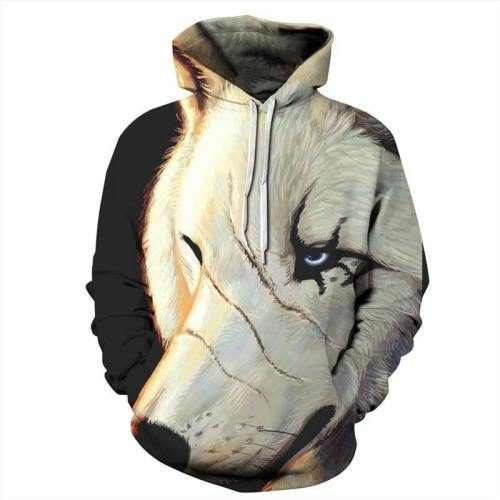 One-Eyed Wolf Hoodies 3D Pattern Pullover Sweatshirt