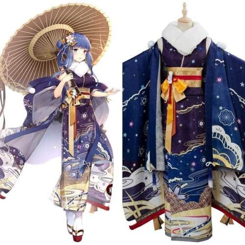 Azur Lane Ibuki Wish Of A Snow Goddess Kimono New Year Cosplay Costume