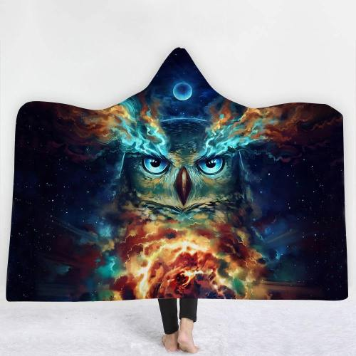 Limited Design: Wise And Spiritual Night Owl Hooded Blanket