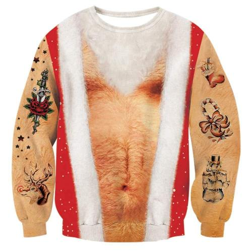 Mens Pullover Sweatshirt 3D Printing Hairy Chest Pattern