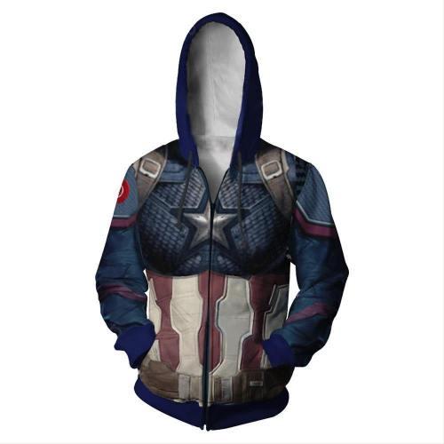 Adult Endgame Captain America Hoodie Halloween Cosplay Costume Hooded Sweatshirts