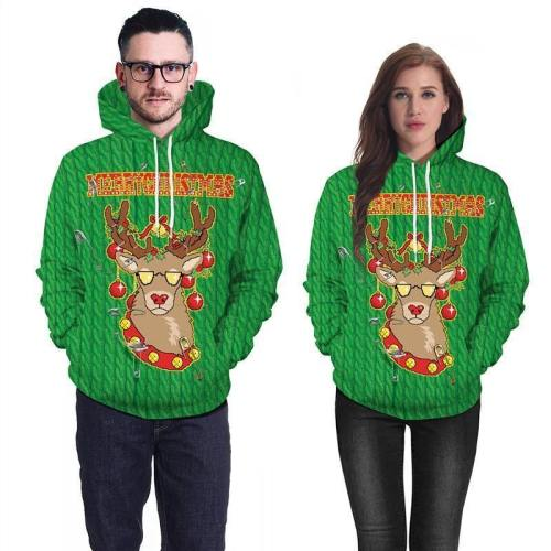 Mens Green Hoodies 3D Graphic Printed Merry Christmas Cool Deer Pullover