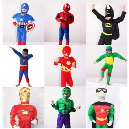 Kids Halloween Costume Captain American Spiderman Batman Superman Robin The Hulk The Flash Muscle Avengers Cosplay Costume
