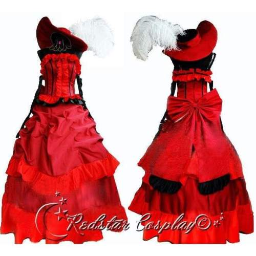 Black Butler MADAME ROUGE red dinner party dress Cosplay Costume Custom in Any size