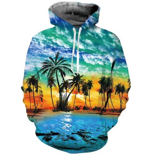 Mens Hoodies 3D Printing Hooded Palm Tree Printed Pattern Sweatshirt