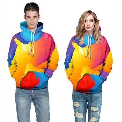 3D Print Hoodie - Colorful Oil Painting Pattern Pullover Hoodie