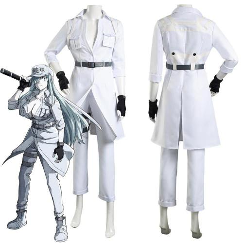 Cells At Work! Code Black/Hataraku Saibou Black -Hakkekkyuu/White Blood Cell Coat Pants Outfits Halloween Carnival Suit Cosplay Costume