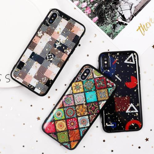 Leopard Peacock Zebra Trendy Shapes And Patterns Print Phone Case With Glitters