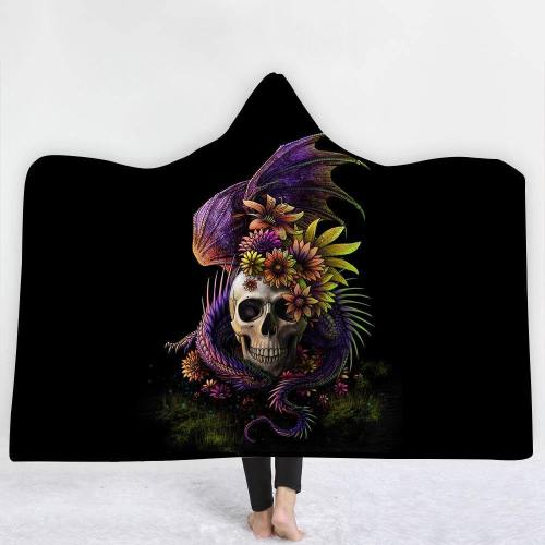 Flowers And Skull Version 1 Hooded Blanket