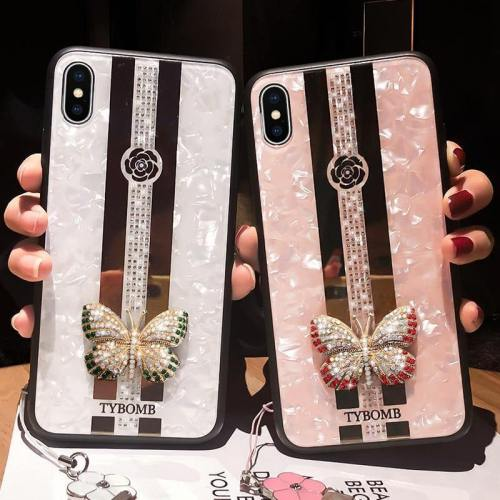 Glossy Butterfly Mirror Jewelled Phone Case With Hand Strap