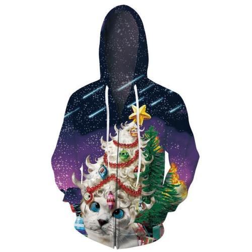 Mens Zip Up Purple Hoodies Christmas Cat 3D Graphic Printing Hoody