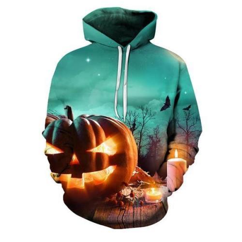 Evil Pumpkin Green Halloween 3D Hoodie