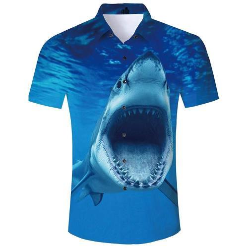 Men'S Tropical Beach Hawaiian Shirt Ocean Shark Print