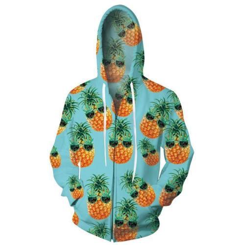 Mens Zip Up Hoodies 3D Printed Cute Pineapple Printing Hooded