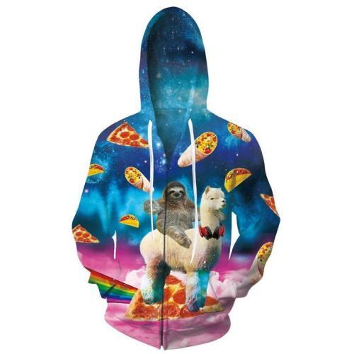 Mens Zip Up Hoodies Christmas Alpaca 3D Graphic Printing Hoody