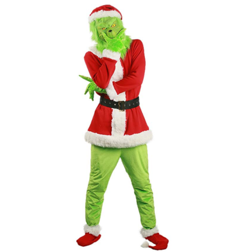 Movie How The Grinch Stole Christmas Cosplay Costume The Grinch Deluxe  Cosplay Outfit With Accessories For Adult Fancy Dress Christmas Halloween Party