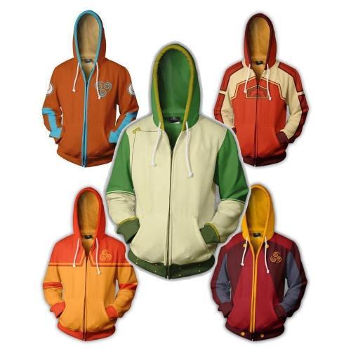 New Avatar: The Last Airbender Costumes Aang Sweatshirts Cosplay 3D Printed Fashion Cartoon Men'S Hooded Sweater Zipper Jackets