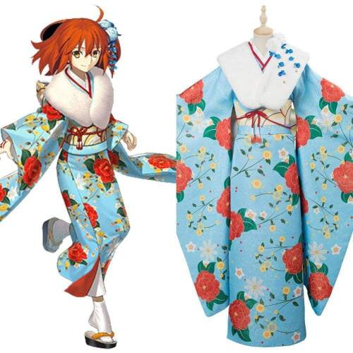 Fate/Grand Order Fujimaru Ritsuka Cosplay Costume New Year Kimono Outfit