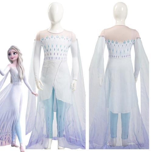 Frozen 2 Elsa Ahtohallan White Snow Ice Flake Dress Cosplay Costume Kid Child Ver