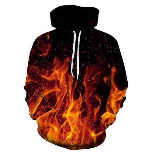 Mens Hoodies 3D Printing Fire Printed Pattern Hooded
