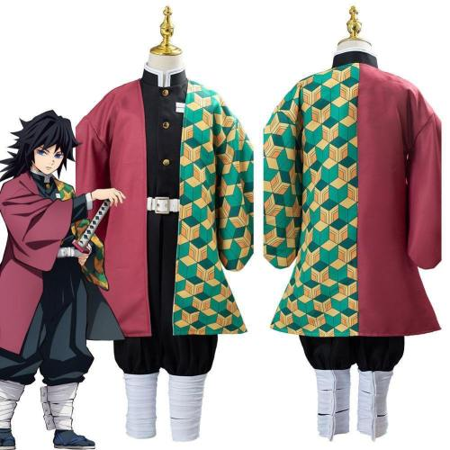 Anime Demon Slayer Kimetsu No Yaiba Tomioka Giyuu Uniform Outfit Cosplay Costume For Kids Children