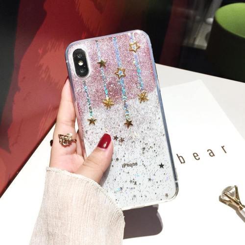 Glitter Falling Stars Soft Silicone Phone Case