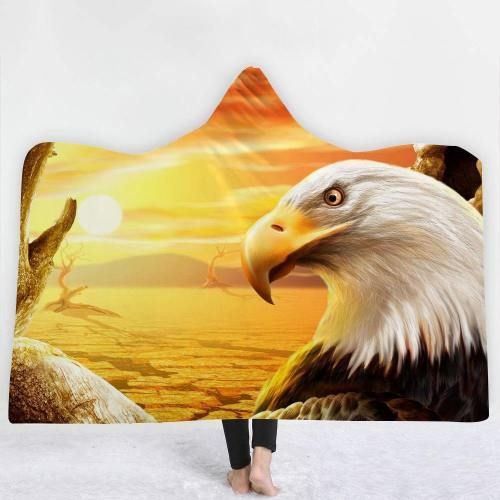 Exclusive: Usa Eagle Sunset 3D Hooded Blanket