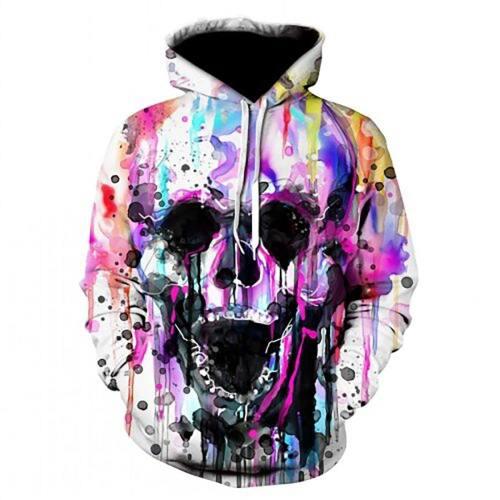 Artistic Colored Screaming Skull Hoodie