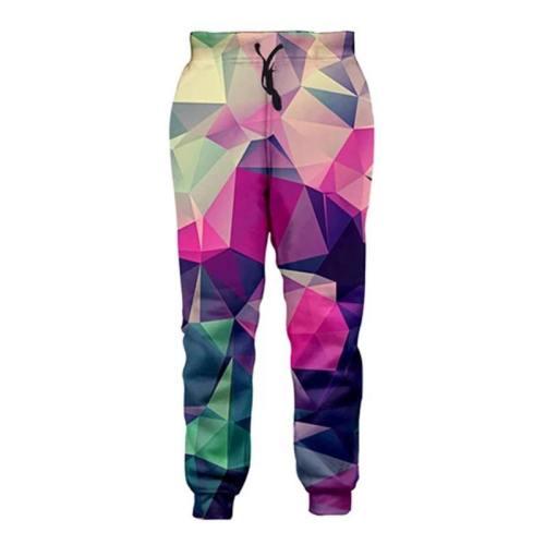 Mens Jogger Pants 3D Printing Colorful Geometric Pattern Trousers