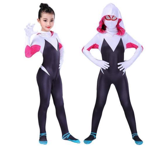Kids Girls Adult Spider Gwen Stacy Cosplay Halloween Costumes Jumpsuit