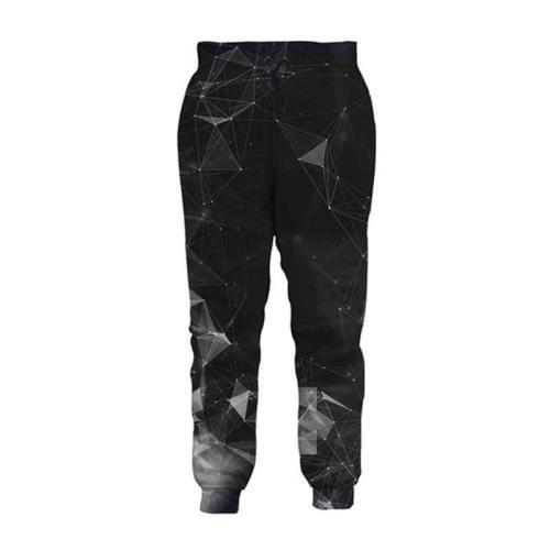 Mens Jogger Pants 3D Printing Diamond Geometry Pattern Trousers