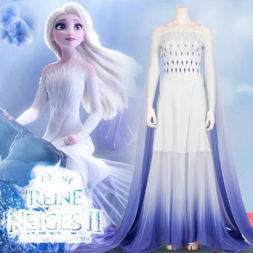 Movie Elsa White Dress Custom Made Costumes Princess Elsa Cosplay Costume Dress Elsa Hair Down White Dress Adult