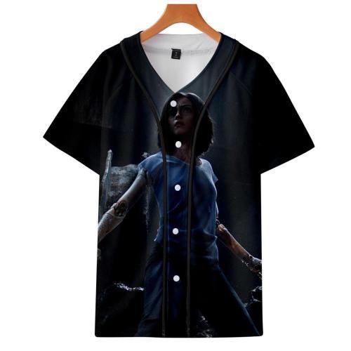 Alitat-Shirt - Battle Angel Graphic Button Down T-Shirt Csos991
