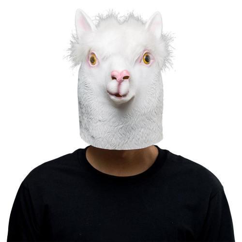 White Alpaca Sheep Halloween Animal Latex Helmet Full Face Adult Cosplay Props