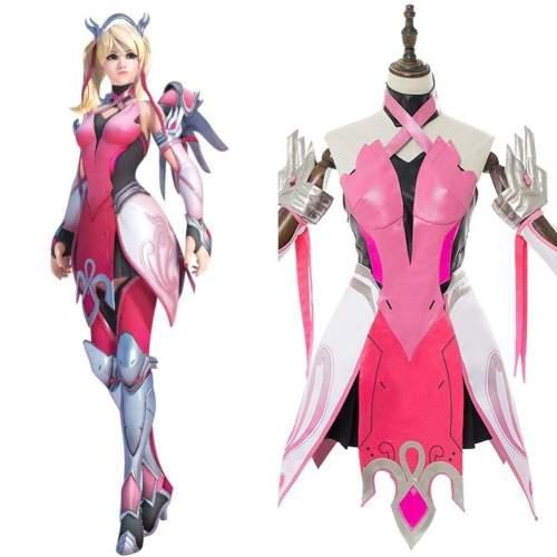Overwatch Mercy Angela Ziegler Outfit Pink Mercy Skin Cosplay Costume