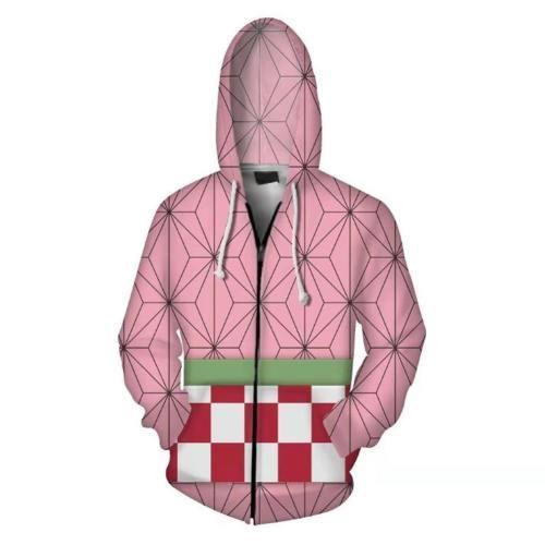 Unisex Kamado Nezuko Hoodies Demon Slayer: Kimetsu No Yaiba Zip Up 3D Print Jacket Sweatshirt