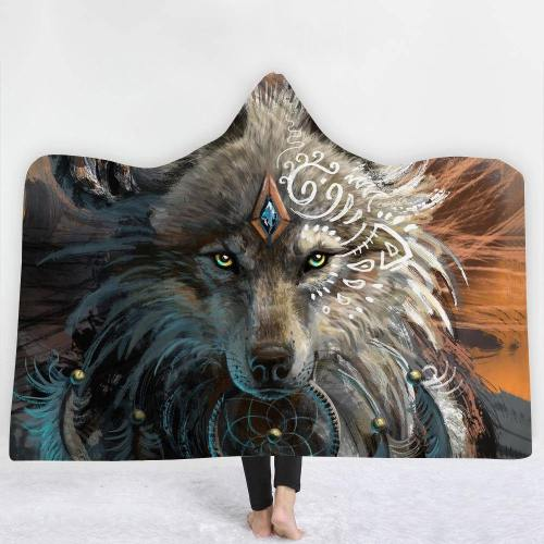 Special Offer: Tribal Ethnic Spiritual Wolf Hooded Blanket