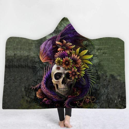 Flowers And Skull Version 2 Hooded Blanket