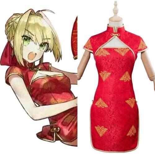 Fate Extella Link Nero Saber Cheongsam Red Dress Cosplay Costume