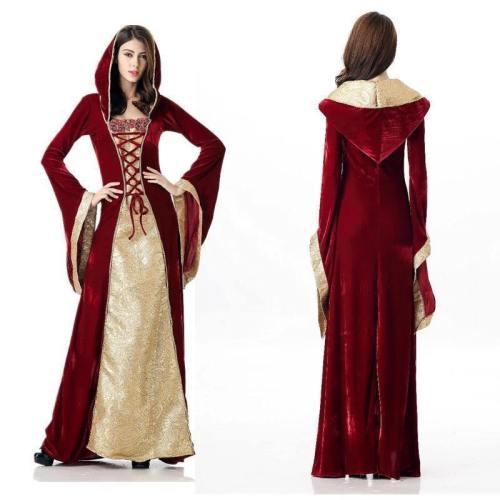 Halloween Queen Costume Palace Long Dress Pub Party Dress