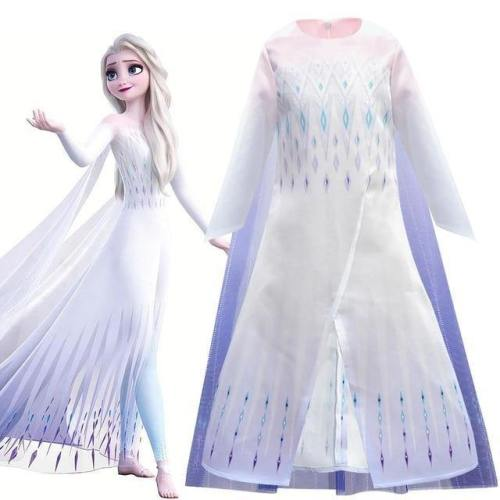 Snow Queen Frozen 2 Princess Elsa White Dress Girls Costumes Cosplay