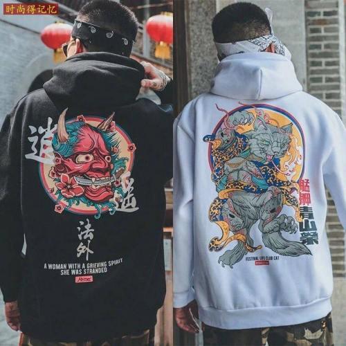 Mode Hommes Cool Hommes Hip Hop Sweats À Capuche Japonais Pulls Décontractés Streetwear Hommes Femmes Pull En Vrac Harajuku Diable À Capuche Mâle